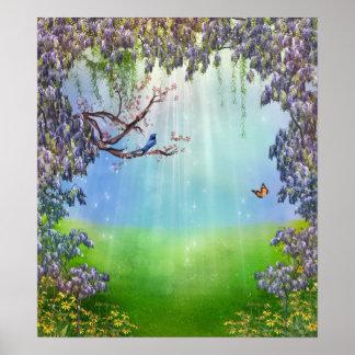 Purple Wisteria Springtime Poster