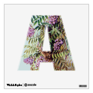 """Purple Wisteria Wall Letter """"A"""" Poster Art Decal"""