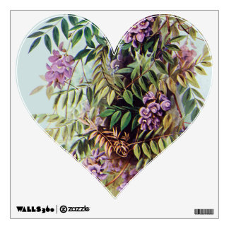 Purple Wisteria Wall Poster Art Heart Decal