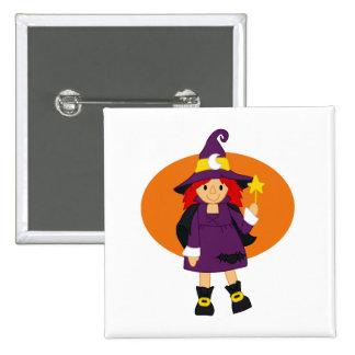 Purple witch cartoon orange behind pinback buttons