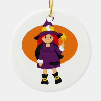 Purple witch cartoon orange behind Double-Sided ceramic round christmas ornament