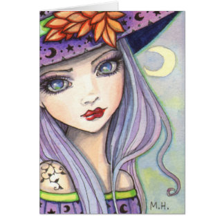 Purple Witch Fantasy Art Greeting Card