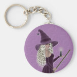 Purple Witch holding a Candle Key Chain
