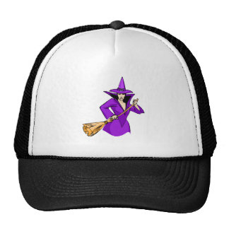 Purple Witch with Broom Hats