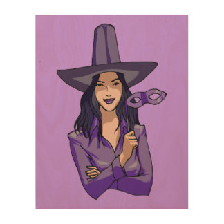 Purple Witch Wood Wall Art