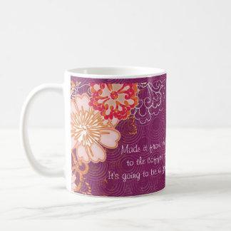 Purple with Big Flowers Coffee Pot Mug