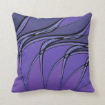 Purple with Black Lines Abstract Throw Pillow