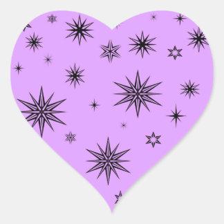 Purple with black stars heart sticker