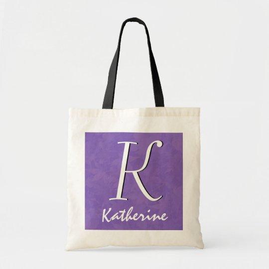 Purple with Custom Monogram and Name Tote Bag