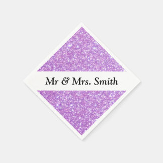 Purple With Customizable Text Paper Napkin