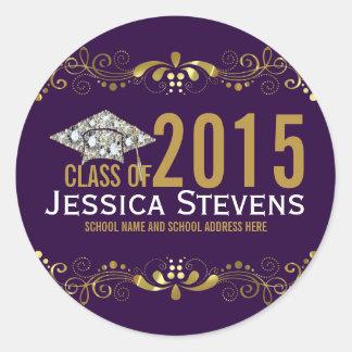 Purple With Faux Gold Lace & Diamonds Grad Hat Classic Round Sticker