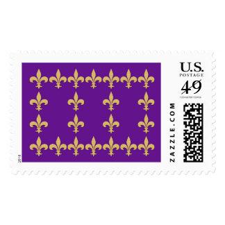 Purple with Gold Fleur-de-Lis Stamps