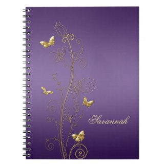 Purple With Gold Floral Butterflies Notebooks