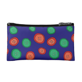 Purple with green and orange hand drawn buttons cosmetic bag