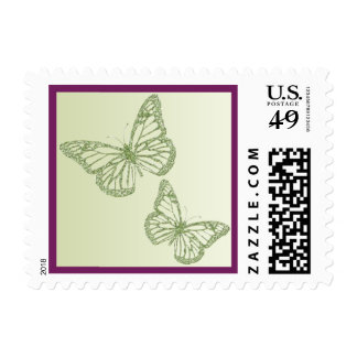 Purple with Green FAUX Glitter Butterflies Postage