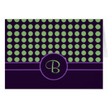 Purple with Green Polka Dots Monogram Card