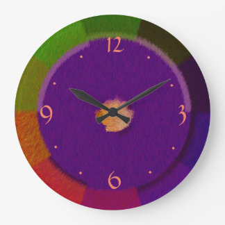 Purple with multicolored Border > Wall Clock
