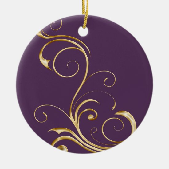 Purple with Ornate Gold Swirls Christmas Ornament