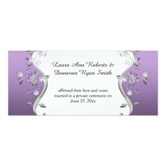 Purple with Ornate Silver Flowers Swirls Reception Invitation