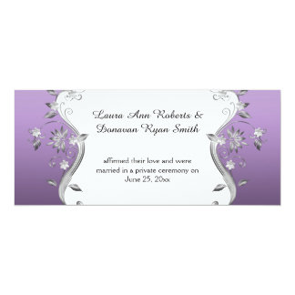 Purple with Ornate Silver Flowers Swirls Reception 4x9.25 Paper Invitation Card