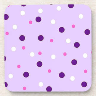 Purple with Pink Polka Dots Drink Coaster