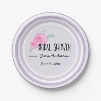 Purple with Pink Watercolor Flowers, Bridal Shower Paper Plate