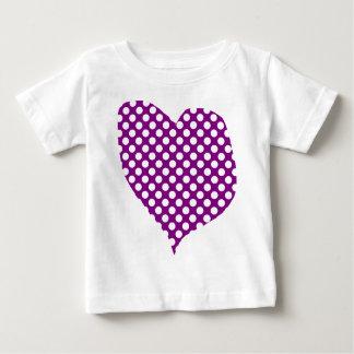 Purple With Polka Dots Heart Baby T-Shirt