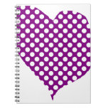 Purple With Polka Dots Heart Notebook