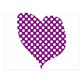 Purple With Polka Dots Heart Postcard