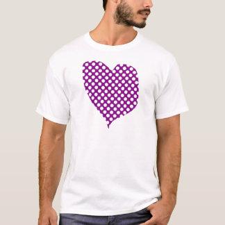 Purple With Polka Dots Heart T-Shirt