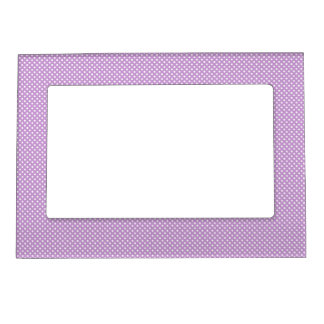 Purple With Simple White Dots Magnetic Picture Frame
