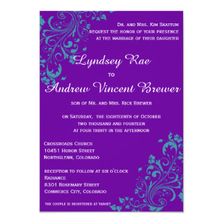 Purple with Turquoise Swirls Wedding Ivitation Card