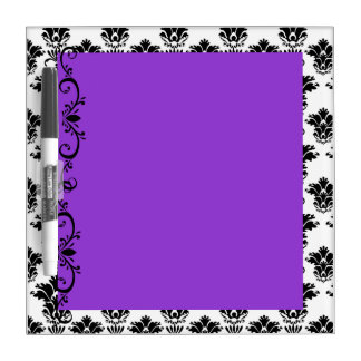 Purple with White and Black Damask Dry Erase Board