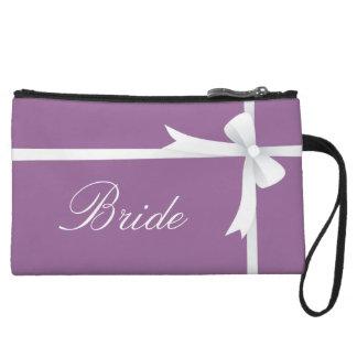 Purple with White Bow, Bride Wristlet Wallet