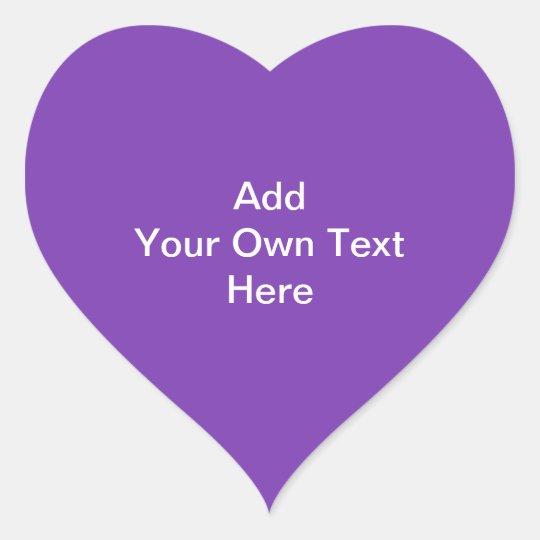Purple with White Custom Text. Heart Sticker