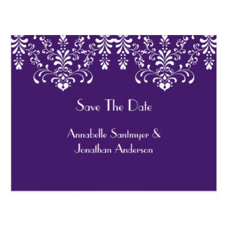Purple with White Floral Swirls Save The Date Postcards