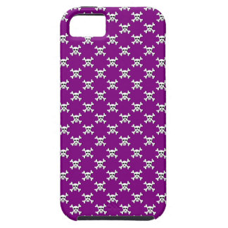 Purple with White Skull and Crossbones Polka Dot iPhone SE/5/5s Case
