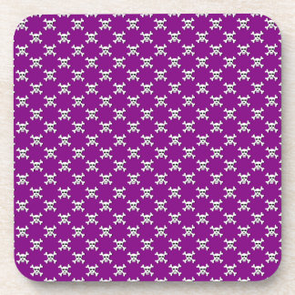 Purple with White Skull and Crossbones Polka Dots Coaster