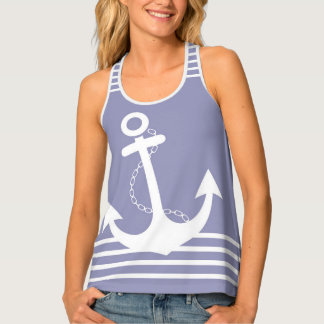 Purple with White Stripes and Anchor Design Tank Top