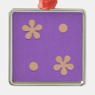 Purple with Yellow Flowers and Dots Design2 Metal Ornament