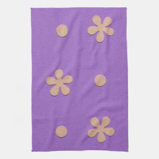 Purple with Yellow Flowers and Dots Design Hand Towels