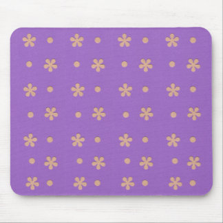 Purple with Yellow Flowers and Dots Design Mouse Pad