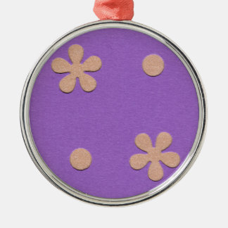 Purple with Yellow Flowers and Dots Design Ornaments