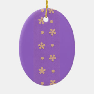 Purple with Yellow Flowers and Dots Design Christmas Ornament