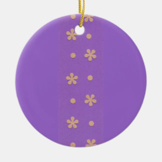 Purple with Yellow Flowers and Dots Design Christmas Ornaments