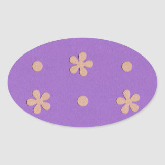 Purple with Yellow Flowers and Dots Design Oval Sticker