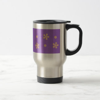 Purple with Yellow Flowers and Dots Design Travel Mug