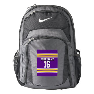 Purple with Yellow White Stripes Team Jersey Backpack