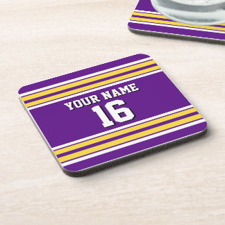 Purple with Yellow White Stripes Team Jersey Beverage Coaster