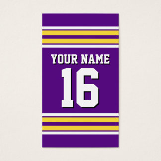 Purple with Yellow White Stripes Team Jersey Business Card